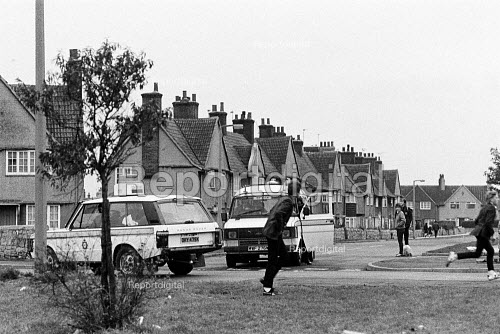 Police chase children throwing stones at police vehicles, Brodsworth, South Yorkshire - John Sturrock - 1984-10-19