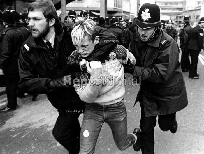 Police arrest a striker. NUM SDC conference decision to continue strike against pit closures Sheffield - John Sturrock - 1984-04-19