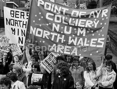 Point of Ayr Colliery banner, women form North Wales, Womens National protest in support of he Miners Strike, Barnsley, Yorkshire - John Smith - 1984-05-12