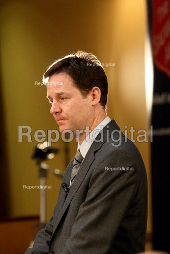 Liberal Democrat leader Nick Clegg MP giving a speech, London. - Justin Tallis - 2010-03-01