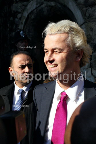 """Dutch MP Geert Wilders arrives in Westminster to show a controversial film called """"Fitna"""". London. - Justin Tallis - 2010-03-05"""