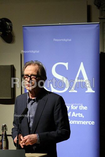 "Bill Nighy backing the ""Robin Hood"" tax campaign at the Royal Society of the Arts. The campaign is calling on political parties in the UK to back a financial transactions tax on banks. London. - Justin Tallis - 2010-03-09"