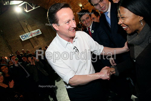 Conservative leader David Cameron shaking hands with supporters after giving a speech. Shoreditch, London. - Justin Tallis - 2010-03-15