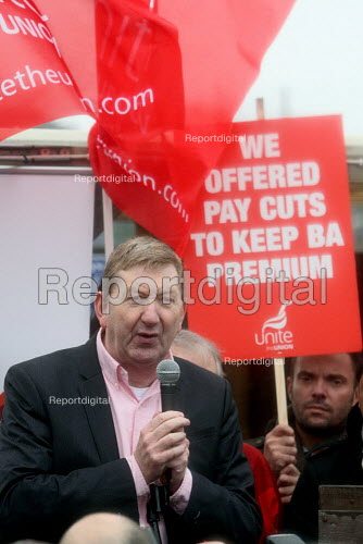 Len McCluskey, Unite assistant gs speaking at a rally of British Airways cabin crew on the first day of a three day strike over pay and working conditions. London Heathrow Airport. - Justin Tallis - 2010-03-20