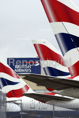 Large numbers of parked BA planes build up at Heathrow Airport. British Airways cabin crew start a three day strike over pay and working conditions. London Heathrow Airport. - Justin Tallis - 2010-03-20