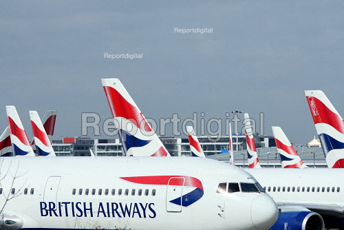 Large numbers of grounded BA planes build up at Heathrow Airport. British Airways cabin crew on the third day of strike action over pay and working conditions. London Heathrow Airport. - Justin Tallis - 2010-03-22