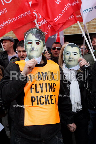 I am a flying picket. British Airways cabin crew on the third day of strike action over pay and working conditions. London Heathrow Airport. - Justin Tallis - 2010-03-22