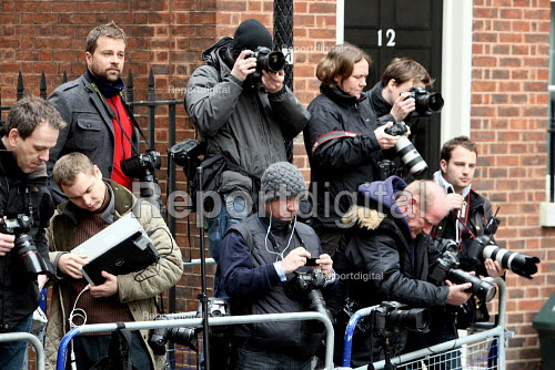 Press photographers waiting around for Alistair Darling. Budget Day 2010. London. - Justin Tallis - 2010-03-24