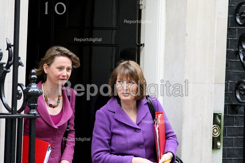 Yvette Cooper MP and Harriet Harman MP leaving Downing Street on Budget Day. London. - Justin Tallis - 2010-03-24