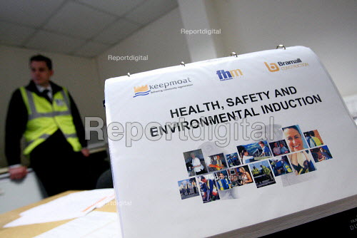 Health and safety information on a desk in a construction site office. Nottingham. - Justin Tallis - 2010-03-17