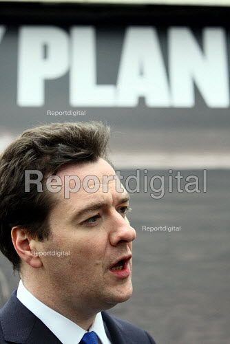 George Osborne speaking to the press as he unveils a new Conservative Party Campaign poster outside Conservative HQ. London. - Justin Tallis - 2010-04-05