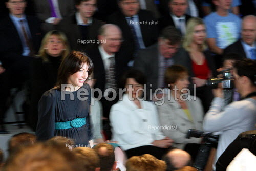 Samantha Cameron being photographed by the press as she takes her seat at The Conservative party's manifesto launch. Battersea London. - Justin Tallis - 2010-04-13