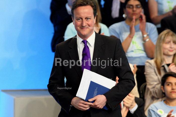 David Cameron at the Conservative Party's manifesto launch. Battersea, London. - Justin Tallis - 2010-04-13