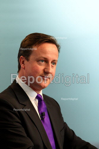 David Cameron speaking at the Conservative Party's manifesto launch. Battersea, London. - Justin Tallis - 2010-04-13
