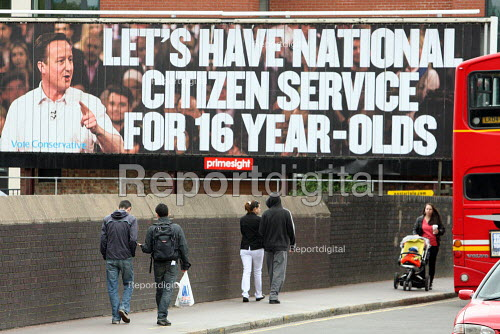 Conservative Party campaign poster on National Citizen Service for sixteen year olds. Hampstead, North London. - Justin Tallis - 2010-04-30