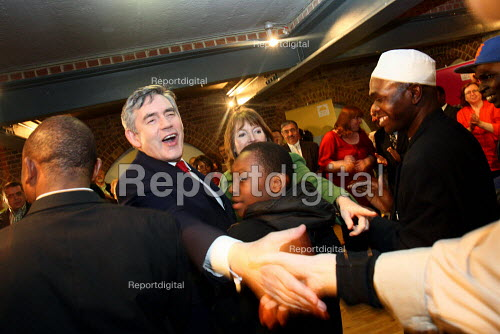 Prime Minister Gordon Brown greeting supporters at a campaign event in South London. - Justin Tallis - 2010-05-02