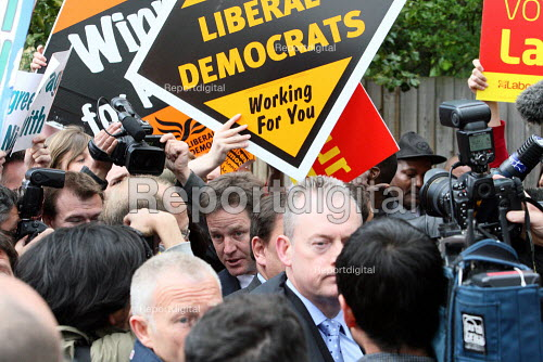 Nick Clegg surrounded by the press at a campaign event in Streatham, South London. - Justin Tallis - 2010-05-03