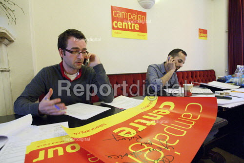 Last minute telephone calling at the Labour Party campaign centre on the night of the 2010 General Election. Croydon. - Justin Tallis - 2010-05-06