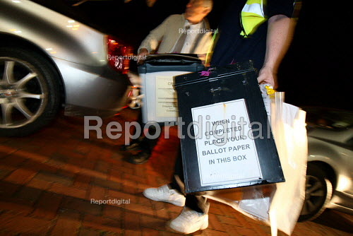 Ballot Box's arrive for the count. 2010 General Election. Croydon. - Justin Tallis - 2010-05-06