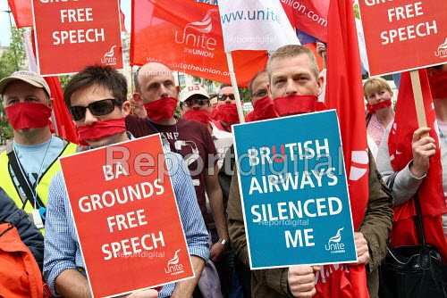 Wearing red gags to symbolise the companys crackdown on workers defending their job, BA cabin crew protest at Speakers Corner, London. - Justin Tallis - 2010-05-28
