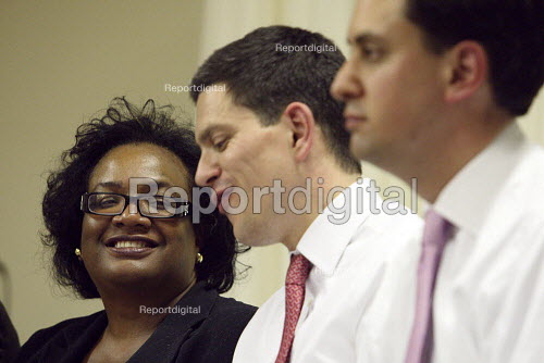 Diane Abbott and David Miliband smiling together during Labour Party leadership hustings in South London. - Justin Tallis - 2010-06-30
