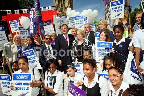 Ed Balls MP with pupils and teachers rally against education cuts. London. - Justin Tallis - 2010-07-19