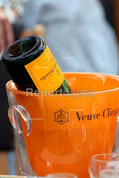 Empty bottle at Venue Cliquot champagne bar. Goodwood racecourse. - Justin Tallis - 2010-07-29