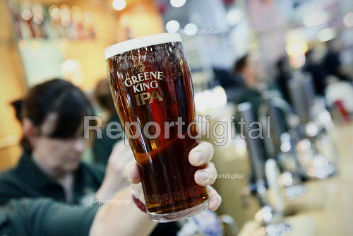 A pint of Greene King IPA at The Great British Beer Festival, Earls Court, London. - Justin Tallis - 2010-08-05
