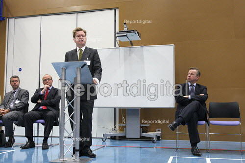 Paul Marshall and Michael Gove MP speaking whilst visiting the Globe Academy in Southwark, South London. - Justin Tallis - 2010-09-13