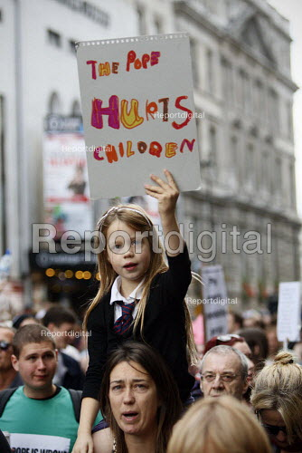Protests march on Whitehall against the visit of Pope Benedict XVI. London. - Justin Tallis - 2010-09-18