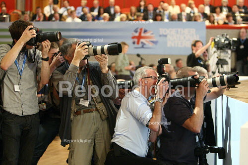 Press photographers working at the 2010 Conservative Party Conference, Birmingham. - Justin Tallis - 2010-10-06