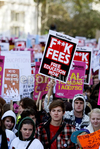 National Demonstration for Education marches through the streets of London to protest against plans to raise tuition fees and cuts in university funding. Organised by NUS and UCU. London. - Justin Tallis - 2010-11-10