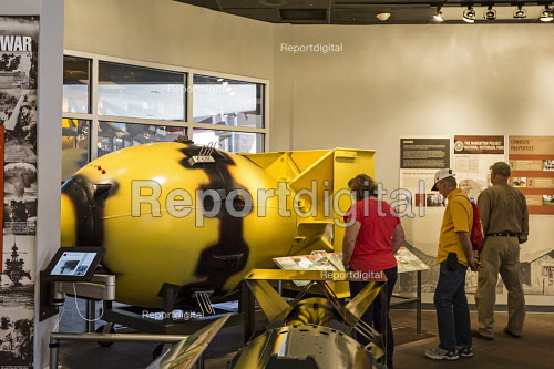 The Bradbury Science Museum exhibition of nuclear weapons research at Los Alamos National Laboratory. Visitors looking at a replica of Fat Man, the plutonium bomb dropped on Japan at Nagasaki at the end of World War II. Los Alamos, New Mexico - Jim West - 2015-10-12