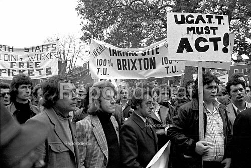 Building workers lobby their union UCATT to demand action to force the release of the Shrewsbury 2 jailed pickets. London - NLA - 1974-11-05