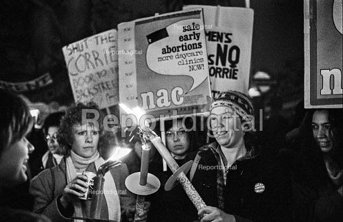 Women protest against the Corrie Bill restricting access to abortion. London - NLA - 1980-02-08