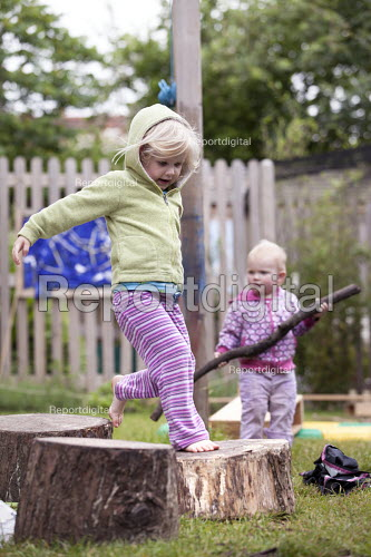 Children playing outside, Norland Nursery, Bath. - Paul Box - 2012-06-27