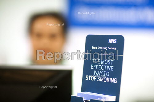 Stop smoking service leaflets. NHS GP surgery and walk-in service, at Boots Broadmead Medical Centre, in Bristol. - Paul Box - 2009-09-02