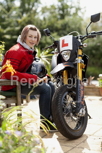 Selwood Housing resident with her motorbike and L plates. Selwood manage quality affordable housing and provide support services for people in housing need. - Paul Box - 2009-08-03
