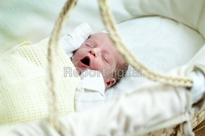 A baby boy yawns in his moses basket. Bristol - Paul Box - 2012-09-29