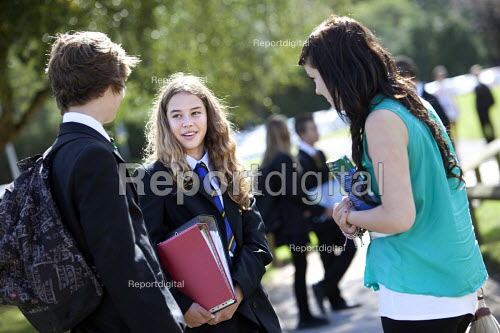 Sixth form students talking to pupils about moving up a year, Clevedon school, Clevedon - Paul Box - 2011-09-14