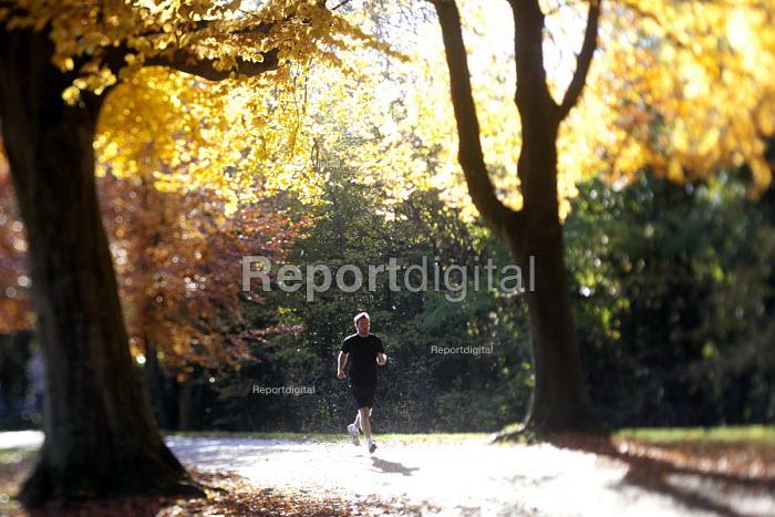 A jogger running through an Autumn scene Clifton, Bristol. - Paul Box - 2012-11-11