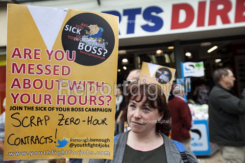 Demonstration against zero hour contracts, sick of your boss campaign Sports Direct sports store, Bristol - Paul Box - 2013-08-24