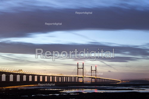 Sunset over The Second Severn Toll Bridge between England and Wales, Bristol Channel, Severn Estuary. - Paul Box - 2015-01-24