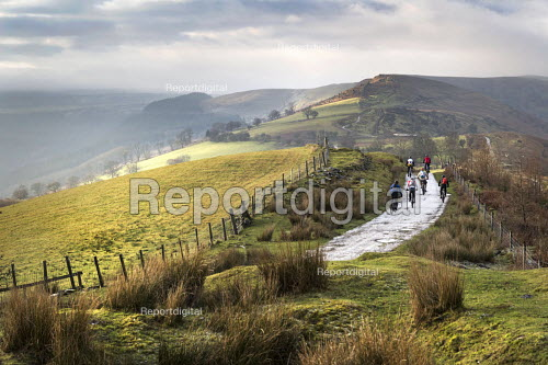 Mountain bikers on The Gap Road, the Brecon Beacons, Monmouthshire, Wales. - Paul Box - 2014-12-30