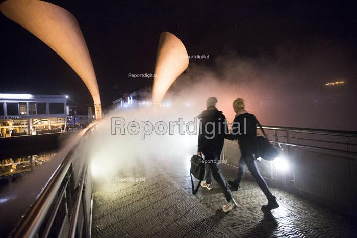 To celebrate IBT15, Bristol status as European Green Capital, a new artwork by artist Fujiko Nakaya concerned with Climate Change Fog Bridge engulfs Peros Bridge in fog. - Paul Box - 2014-08-29