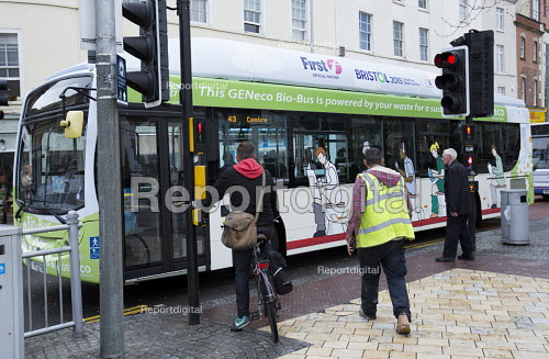 The UKs first bus powered entirely by human and food waste, in service between Bristol and Bath. The 40-seat Bio-Bus runs on biomethane gas generated through the treatment of sewage and food waste. It is nown locally as the Poo bus! It is run by the Bath Bus Company - Paul Box - 2015-04-02