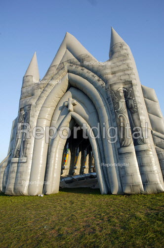 An inflatable church at The international kite festival Bristol - Paul Box - 2004-09-05
