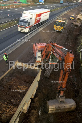 Construction workers on the M5 , carrying out motor way maintenance work. - Paul Box - 2006-04-01