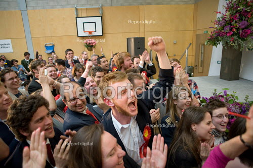 Supporters cheer as Labour MP Glenda Jackson holds the marginal seat of Hampstead and Kilburn by 42 votes in the 2010 General Election. - Philip Wolmuth - 2010-05-07
