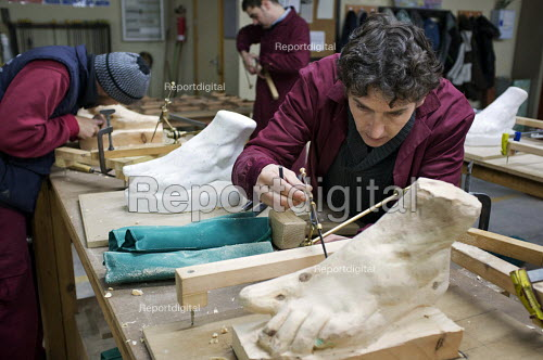 Wood-carving workshop at the Centro Albayzin (the Andalucian School of Restoration), which is funded by the European Social Fund, the City of Granada and the province of Andalucia to provide training in traditional construction skills for registered unemployed people age 16-30. Andalucia has the highest unemployment rate in Spain over 50 of under-25s are jobless. - Philip Wolmuth - 2013-01-25